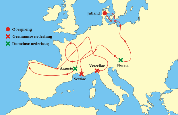 De Cimbren en Teutonen reisden heel Europa rond (bron: User:Tzzzpfff - Image:Cimbrians and Teutons.png, CC BY-SA 3.0, https://commons.wikimedia.org/w/index.php?curid=2178596)