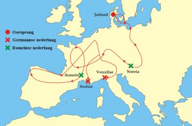 De Cimbren en Teutonen reisden heel Europa rond (bron: User:Tzzzpfff - Image:Cimbrians and Teutons.png, CC BY-SA 3.0, https://commons.wikimedia.org/w/index.php?curid=2178596)