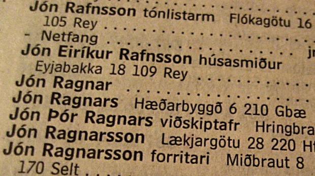 IJslandse telefoonboeken zijn op de voornaam geordend.