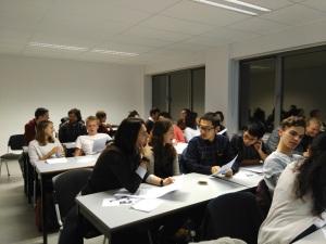Een klas studenten gesproken Vlaams bij Goesting in Taal
